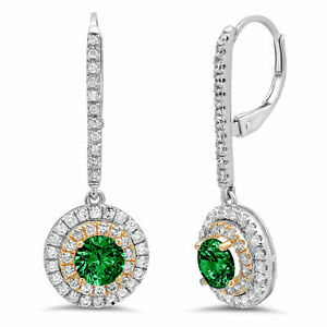 2.52ct Round Halo Simulated Emerald 18k White Pink Gold Earrings Lever Back