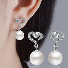 Women Romantic Fashion Solid 925 Silver Pearl Dangle Zircon Heart Stud Earrings