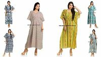 Casual Maxi Plus Size Double Layer Cotton Women's Long Floral Dress Caftan India