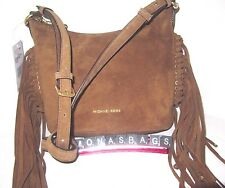 Michael Kors Billy Medium Fringe Messenger Bag Caramel Suede Leather NWT $268