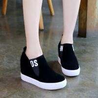 Womens Hidde Wedge Heel Platforms Slip On Chic Sneakers Preppy Leisure Shoes New
