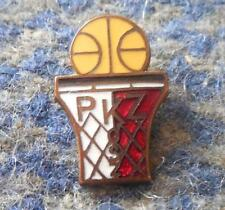POLAND BASKETBALL FEDERATION 1960's RARE YELLOW WHITE RED ENAMEL PIN BADGE