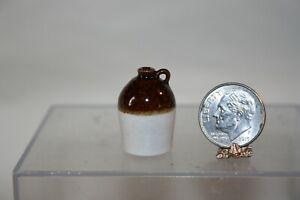 Miniature Dollhouse Vintage James Clark Replica Antique Pottery Jug Brown/White