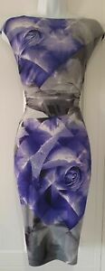 Coast Blue Rose Floral Stretch Shift Wiggle Dress UK 12 EU 40 US 8
