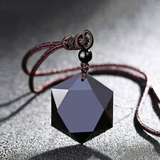 Vintage Women Obsidian Cubic Hexagram Pendant Rope Chain Necklace Talisman Reiki
