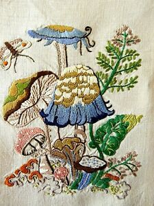 VINTAGE HAND EMBROIDERED PICTURE PANEL- BEAUTIFUL WILDFLOWERS/TOADSTOOLS