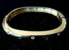 Bracelet / Goldtone with Crystals Erwin Pearl Signed / Hinged Bangle