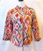 Chico's Jacket Women's Medium Multi Color 3/4 Sleeves Open Front