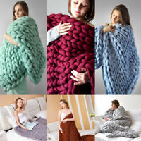 Handmade Chunky Knitted Blanket Wool Thick Line Yarn Merino Throws Home Decor