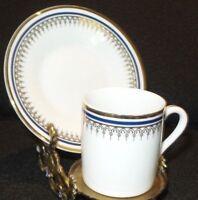 Vintage Germany Porcelain De Lux Blue White Demitasse Cup & Saucer