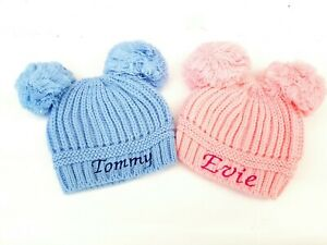 personalised baby double  POM POM beanie embroidered hat 4 colours