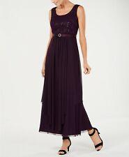 $241 R&M Richards Womens Purple Sequined Lace A-Line Formal Dress Petite Size 4p