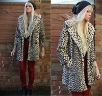 TOPSHOP UK SIZE 10-12 FAUX FUR COAT LEOPARD ANIMAL PRINT JACKET WOMENS LADIES