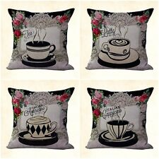 US SELLER, 4pcs home decoration throw pillow cover cushion covers tea time