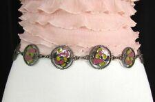Women Pewter Metal Bling Fashion Belt Pink Yellow Flower Charm Hip Waist S M L