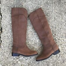 Chanel Boots 36.5 Suede Tall Knee High CC Brown Vibram Grip Sole New NWOB