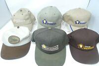 Lot 6 Vintage 90s BURRUS SEEDS Farmers Buckle Hat Cap Embroidered Metal
