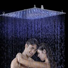 "24"" LED Rain Bathroom Shower Head Brass Square Ceiling Mount Top Spray Over-head"