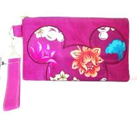 Disney Parks Mickey Mouse  Floral Purple Wristlet Bag Wallet Hawaiian Clutch
