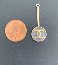 CHANEL charm metal enamel logo gray gold round Gift