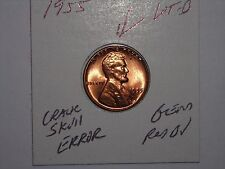wheat penny 1955 ERROR CRACK SKULL &   LINCOLN CENT 1955-P RED BU LOT #B UNC