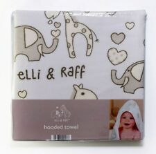 Soft Elli and Raff Baby Hooded Towel Wrap Bath Time 75cmx75cm Unisex Gift