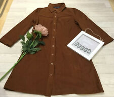 French Connection Sz 12 Brown Pincord Dress A-line Western Style Popper Fasten