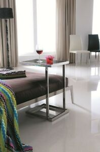 Stella Pollished Stainless Steel Side Table W/ Black Tempered Glass(Free Postage