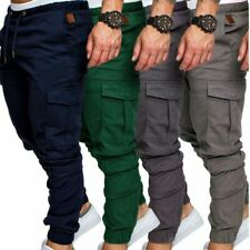 Mens Urban Fashion Slim Fit Zipper Shirring Twill Cargo Jogger Pants Trousers