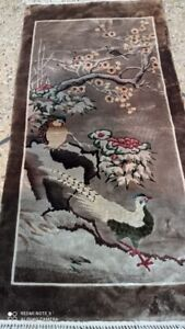 COLLECTORS' PIECE Antique Silk Cassowary Birds Tonga Chinese Carpet Master Piece