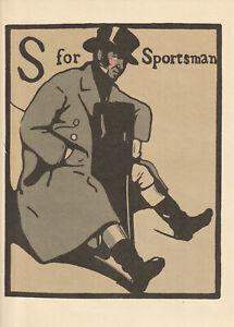 William Nicholson Woodcut Print 1898 S for Sportsman Alphabet Lithograph 1975