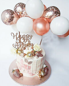 10PCS Confetti Balloon Cake Topper Arch Garland For Birthday Wedding Party+Stick