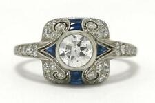 Vintage Art Deco Wedding Filigree Ring 3 Ct Diamond Sapphire 14k White Gold Over