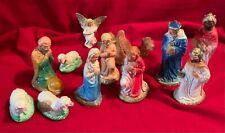 Mary,Joseph,Angel,Wisemen ,Camel,Sheep,Shepherd,Nati vity,Chalkware,Vintage,Fig ure