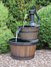 Designer Oak Wood Barrel Indoor Outdoor Water Feature Fountain