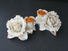 Avon Winter Rose Candle Holder Set Ivory & Gold (L4)