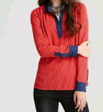 Free People Size XS Anthropologie Red and navy Horse Print Career Collar Blouse