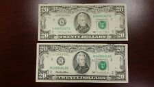 Lot of 2 Two Old $20 US Notes Bills ( 1990-1995 ) $40.00 Face Value