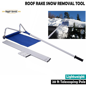 Sturdy Roof Snow Rake Removal Tool 20 ft with Adjustable Telescoping Handle Pole