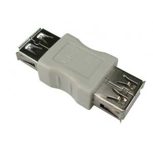 USB Type A Female to A F Coupler Gender Changer Converter Adaptor Joiner - BEIGE