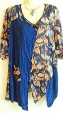 Blue Yellow Stretch Lilia Top Shirt Blouse XL 14 16 US 10 EU 42 Womens Ladies