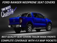 FORD RANGER PX 1 FRONT NEOPRENE SEAT COVERS COMPLETE COVERAGE - MAP POCKETS X 4