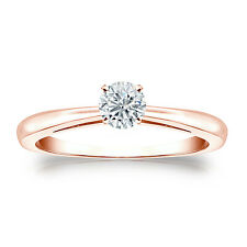 Certified 14K Rose Gold 4-Prong Round Diamond Solitaire Ring 0.40ct G-H, I1-I2