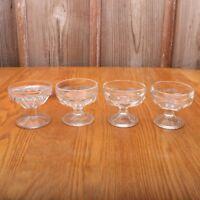4 Clear Glass Thumbprint Pattern Sherbets Ice Cream Bowl Sundae