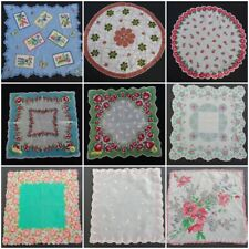 More details for vintage handkerchief hanky printed floral bright ladies shaped edge 1940s 1950s