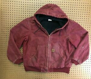 MENS LARGE - Vtg Carhartt J130 Sandstone Flannel Quilt Lined Hooded Jacket