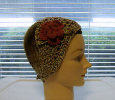 Headband/wrap--Variegated/Country Red Flower--100% Cotton--Hand Crochet-OOAK