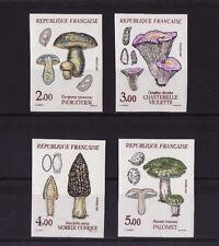timbre France non dentelée  série 4 champignons 1987  num: 2488/2491 **