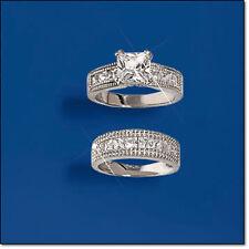 Sterling Silver Princess Cut CZ Wedding Band Set-Size 7