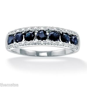 PLATINUM OVER STERLING SILVER  1.05 TCW SAPPHIRE  RING SIZE 6 7 8 9 10